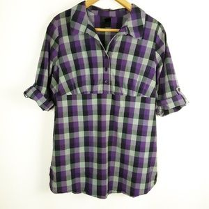 Lane Bryant Purple Buffalo Plaid Popover Top